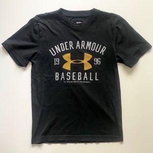 Boys Under Armour Black Baseball Shirt Small EUC
